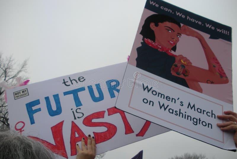 Frauen ` s März, können wir es tun! , Können wir, wir haben, wir werden, die Zukunft sind bös, Zeichen und Poster, Washington, DC stockfotografie