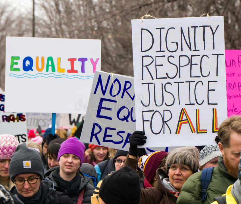 2017 Frauen ` s März Minnesota lizenzfreies stockfoto
