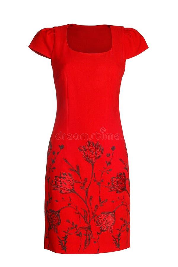 Frauen ` s rotes Kleid stockfoto