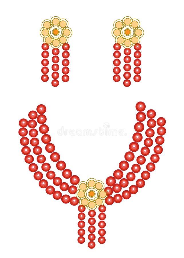 Frauen ` s Schmuck Helle rote schöne Perlen und Ohrringe Auch im corel abgehobenen Betrag vektor abbildung