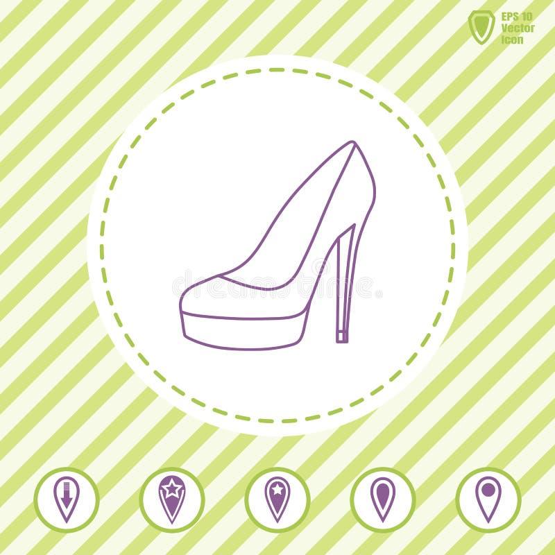 Frauen ` s Schuhe mit Linie des hohen Absatzes vector Ikone lizenzfreie abbildung