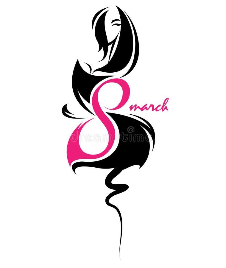 Frauen `s Tag Illustration von Frauen silhouettieren Ikone, Frauenkörper im schwarzen Kleid lizenzfreie abbildung