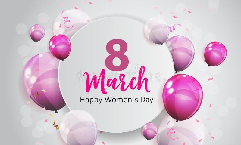 Frauen ` s Tagesgruß-Karten-am 8. März Vektor-Illustration vektor abbildung