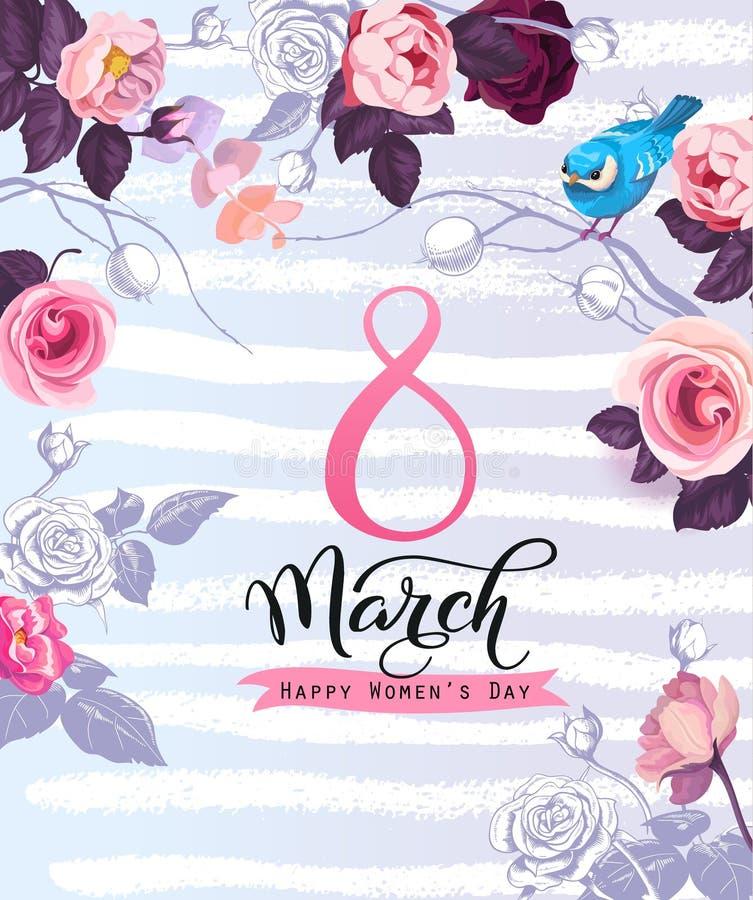 Frauen ` s Tagesgrußkartenschablone mit eleganter Beschriftung, schöne Hälfte färbte rosafarbene Blumen, kleinen Vogel auf Fliede vektor abbildung