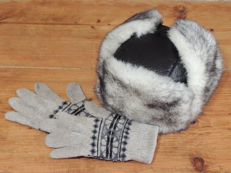 Frauen ` s Winterhut und -handschuhe stockbild