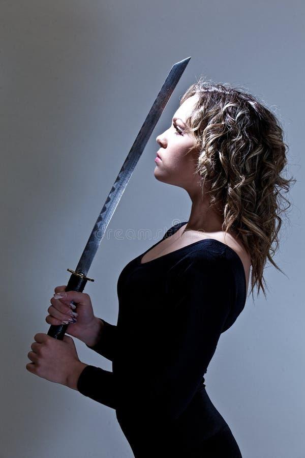 Frauen-Samurai-Krieger lizenzfreies stockfoto