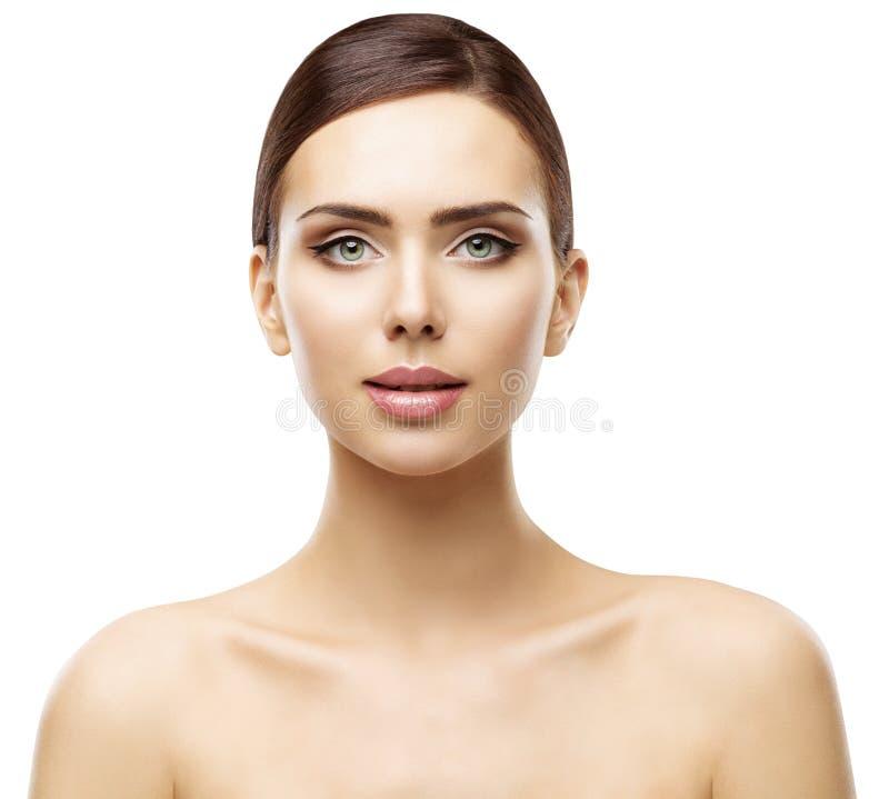 Frauen-Schönheits-Porträt, natürliches Lippenaugen-Gesichts-Make-up, Hautpflege lizenzfreies stockbild
