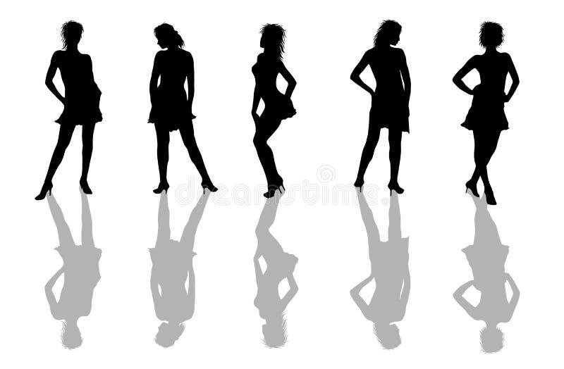 Frauen-Schattenbilder stock abbildung