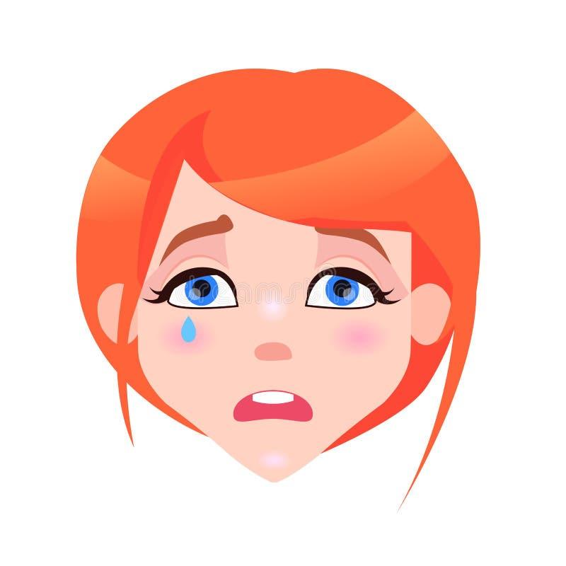 Frauen-schreiendes Gesicht mit rosa Backen und Riss vektor abbildung