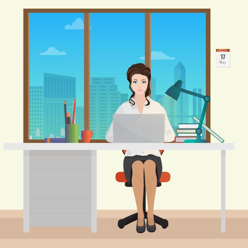 Frauen-SekretärBürovorsteher im Büroinnenraum Geschäftsfrauperson, die an Laptop arbeitet lizenzfreie abbildung