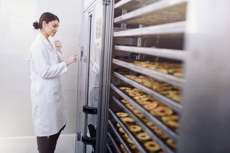 Frauen-Spezialist in der Lebensmittel-Qualität und Hygienekontrolle, die Äpfel überprüfen stockfoto