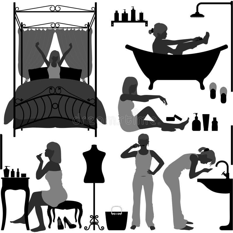 Frauen-täglicher Routinemorgen lizenzfreie abbildung