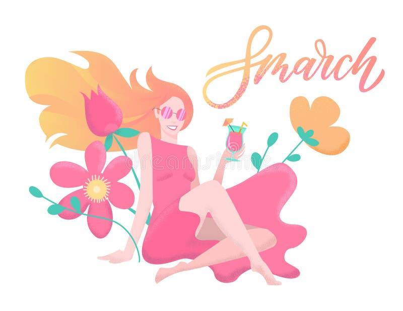 Frauen-Tagesstrukturierte Illustration Zitat am 8. M?rz beschriften L?chelnde junge Frau im rosa Kleid mit Cocktail in ihren H?nd lizenzfreie abbildung