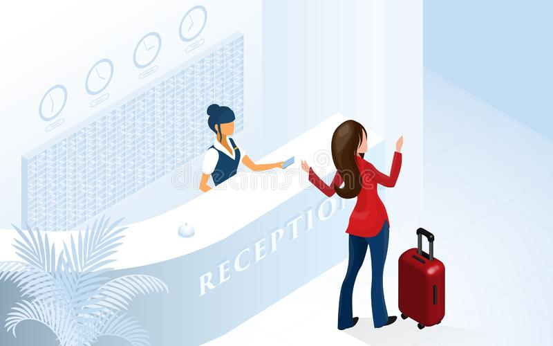 Frauen-touristisches Ankommen in der modernen Hotel-Lobby lizenzfreie abbildung