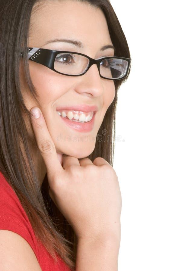 Frauen-tragende Gläser lizenzfreie stockbilder