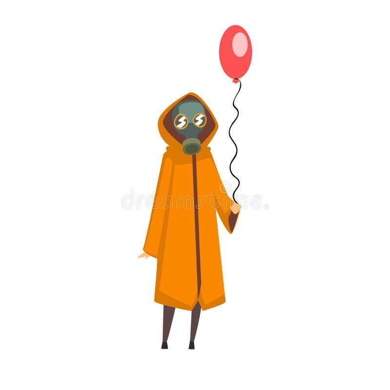 Frauen-tragende Schutzgas-Maske und Mantel-Stellung mit Ballon, Leute-Leiden vom Industriedunst-Vektor lizenzfreie abbildung