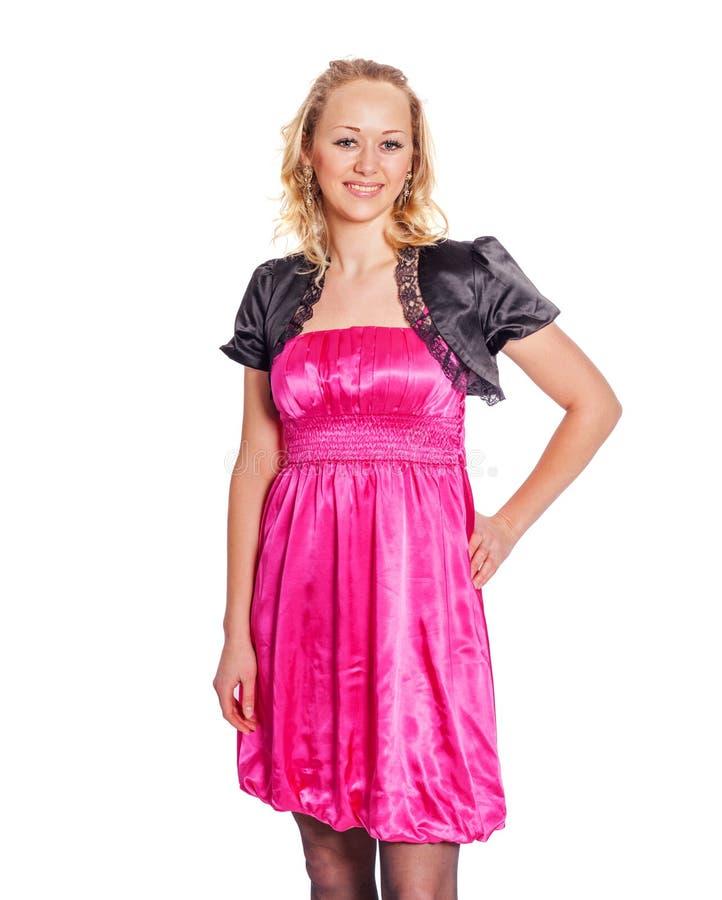 Frauen-tragendes Rosa lizenzfreie stockbilder