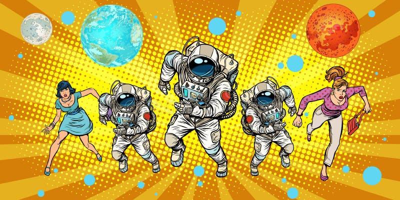 Frauen und Astronauten, die um das Universum laufen lizenzfreie abbildung