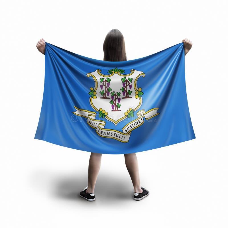 Frauen- und Connecticut-Flagge lizenzfreie stockbilder