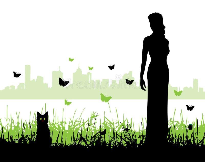 Frauen und ein Kätzchen stock abbildung