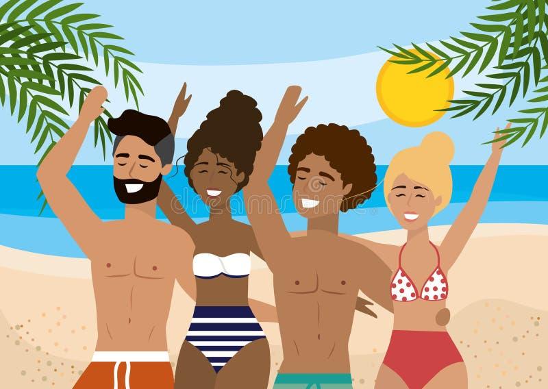 Frauen und Männer, die Badeanzug tragen und kurze Hosen im Strand baden lizenzfreie abbildung