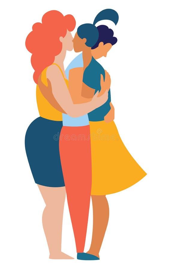 Frauen und Männer polyamorist homosexuelle homosexuelle Lesbe, die zusammen küssen umarmt lizenzfreie abbildung