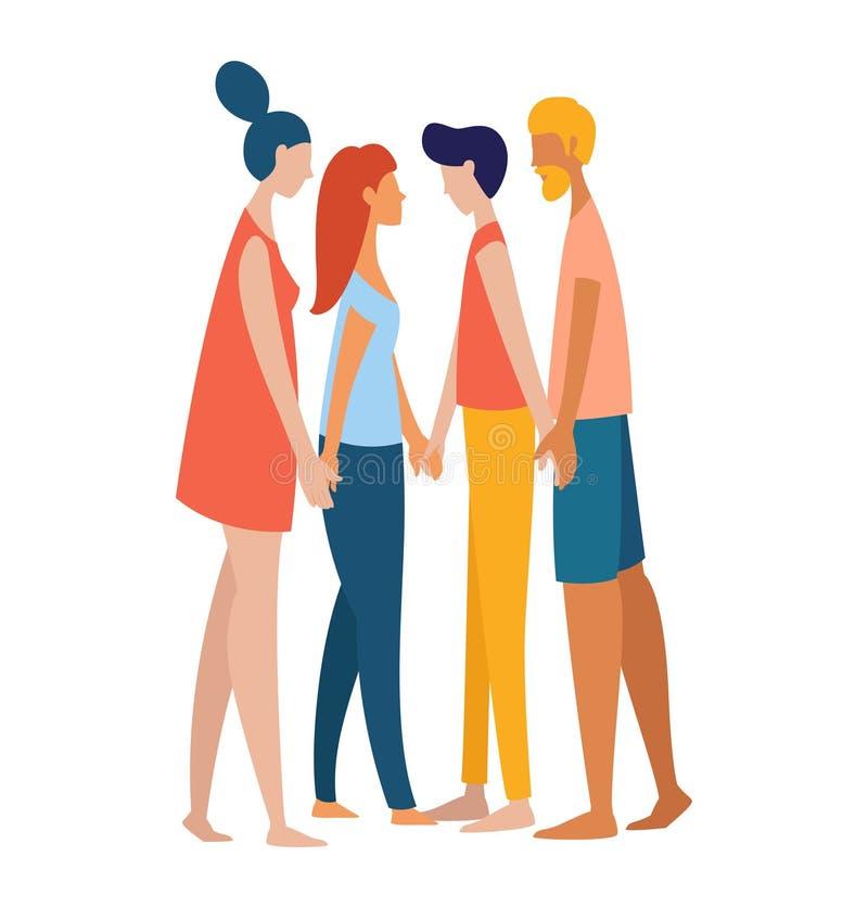 Frauen und Männer polyamorist homosexuelles homosexuelles lesbisches Händchenhalten zusammen lizenzfreie abbildung