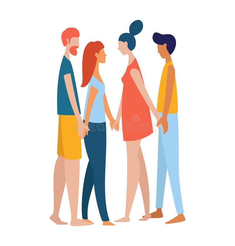 Frauen und Männer polyamorist homosexuelles homosexuelles lesbisches Händchenhalten zusammen vektor abbildung
