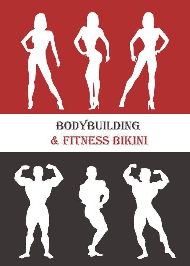 Frauen- und Mannschattenbilder von Athleten Wirft Bodybuilder auf vektor abbildung