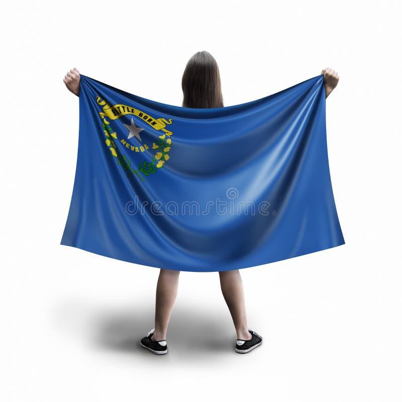 Frauen- und Nevada-Flagge stockbilder