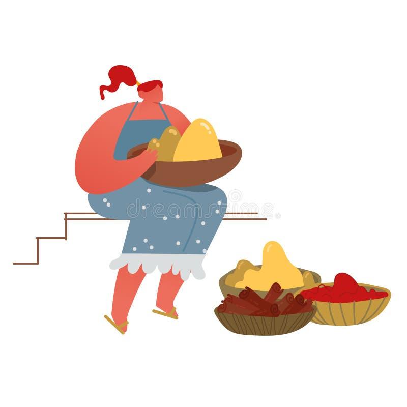Frauen verkaufen exotisch frische Gewürze und farbige Tika-Pulver auf dem asiatischen Markt für das Seasoning im Indischen Ozean  lizenzfreie abbildung