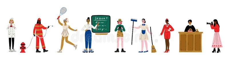 Frauen von verschiedenen Berufen Satz, Konditor, Feuerwehrmann, Tennis-Spieler, Lehrer, Wissenschaftler, Mädchen, Stewardess, Ric lizenzfreie abbildung
