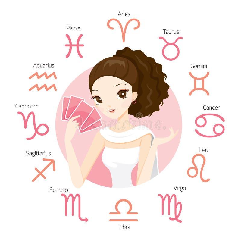Frauen-Wahrsager und Tarock-Karte mit Sternzeichen vektor abbildung