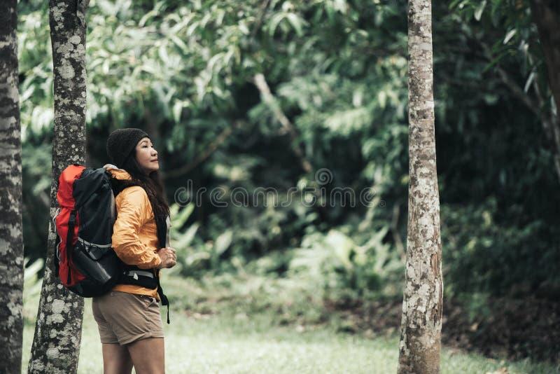 Frauen Wanderer oder Reisender mit Rucksackabenteuer gehend im Dschungelwald im Urlaub sich entspannen im Freien für Ausbildungsn stockbild