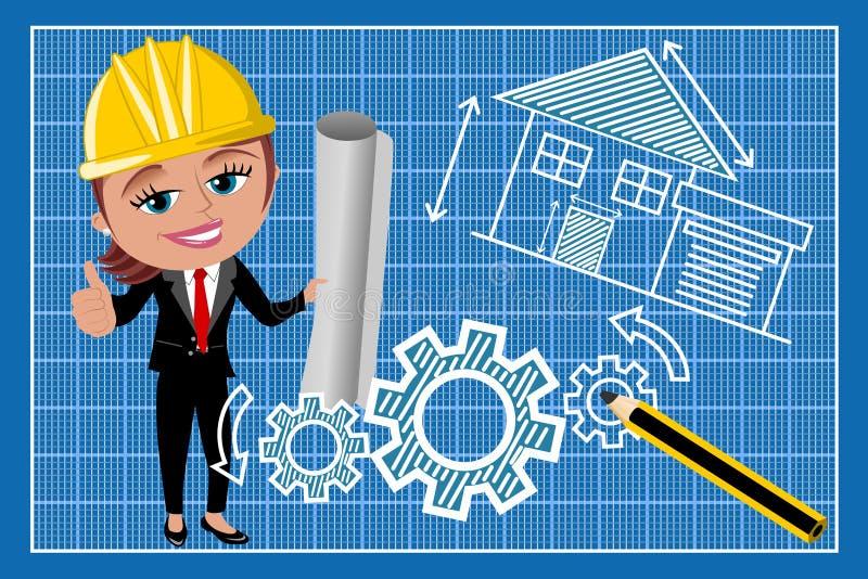 Frauen-weiblicher Architekt Thumb Up Blueprint lizenzfreie abbildung