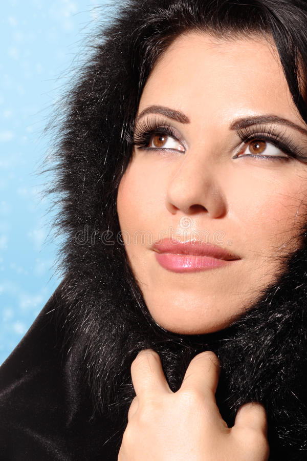 Frauen-Winter-Schönheit lizenzfreies stockbild