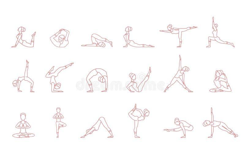 Frauen zacken Schattenbilder in den eingestellten Yogahaltungen, asana Sammlungs-Vektorillustrationen aus lizenzfreie abbildung