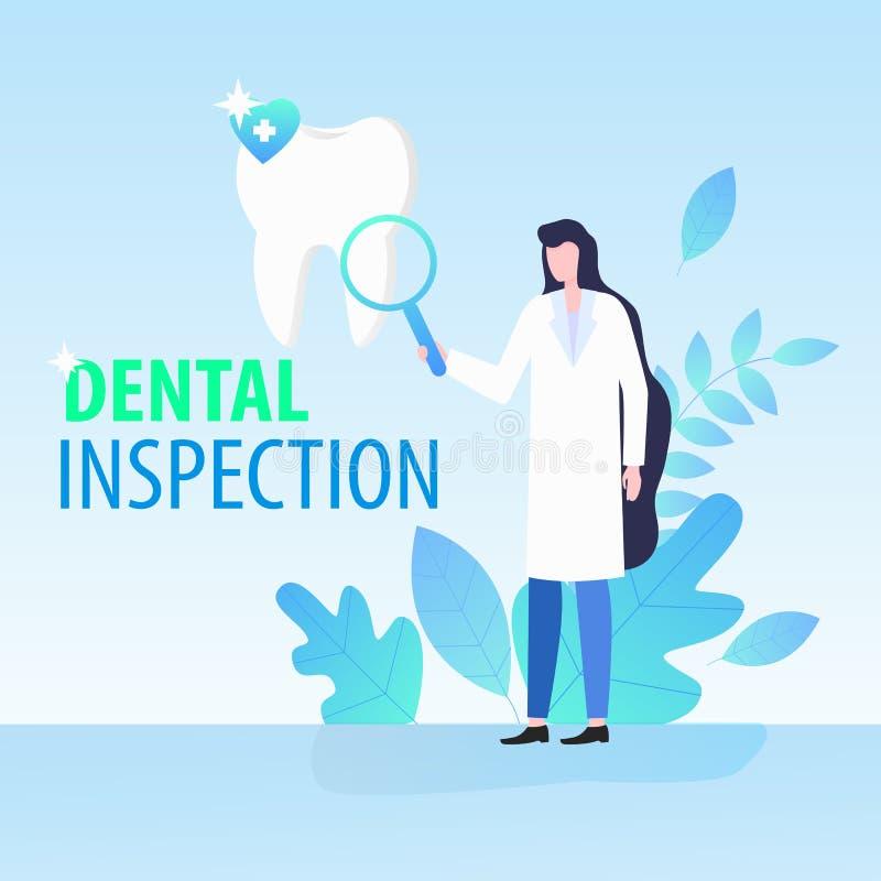 Frauen-Zahnarzt-Magnifying Glass Dental-Inspektion lizenzfreie abbildung