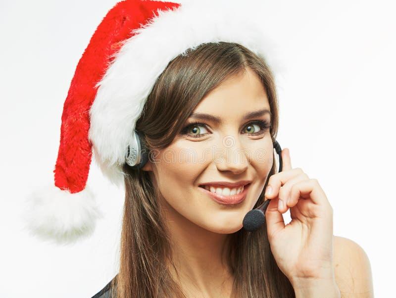 Frauenabschluß Christmass Sankt herauf Gesichtsporträt Geschäftsfrau w lizenzfreie stockfotografie