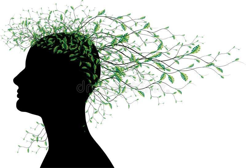 Frauenabstraktes Hauptschattenbild mit Baumblättern lizenzfreie abbildung