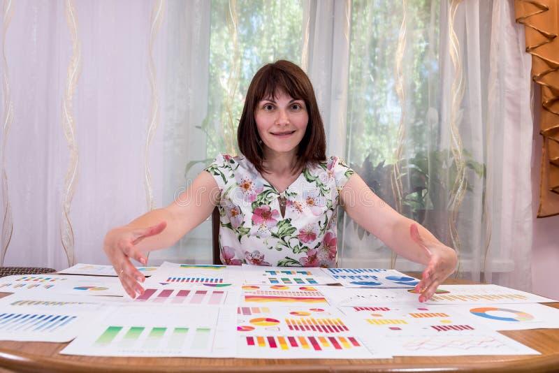 Frauenanalytiker aufgeregt durch Geschäftsdiagramme und -diagramme stockfotos