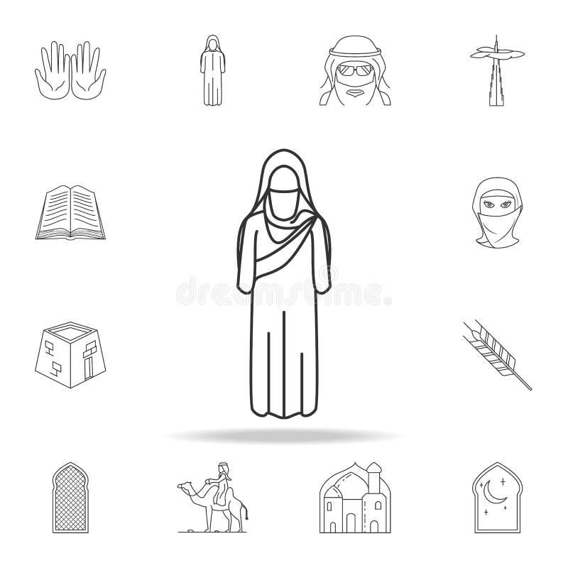 Frauenarabischikone Ausführlicher Satz arabische Kulturikonen Erstklassiges Grafikdesign Eine der Sammlungsikonen für Website, Ne lizenzfreie abbildung