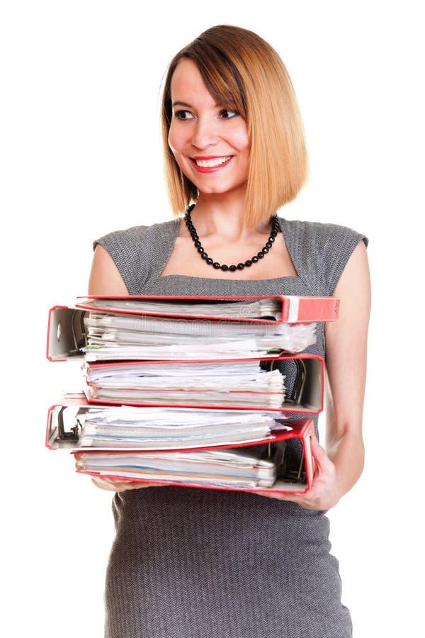 Frauenarbeit überbelastete Geschäftsfrauviel von den lokalisierten Dokumenten lizenzfreie stockbilder