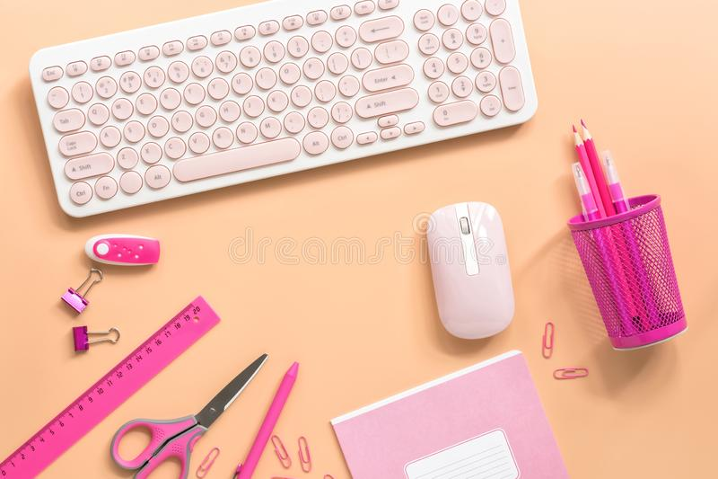 Frauenarbeitsplatz mit einem Computer und einem Briefpapier, zum von Farbe auf einem Pastellhintergrund auszuzacken Flache Lage,  stockfotos