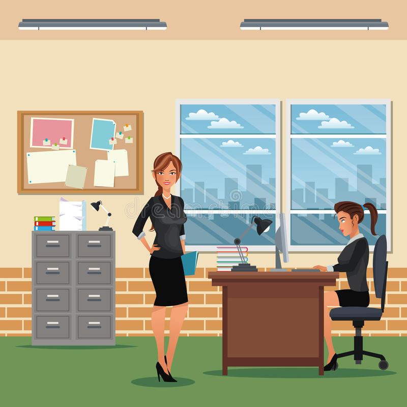 Frauenarbeitsplatz-Schreibtischstuhl-Kabinettbrett-Mitteilungsfenster stock abbildung