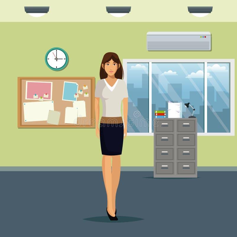 Frauenarbeitsplatzbürokabinettdateimitteilungsborduhrfenster und -klimaanlage stock abbildung