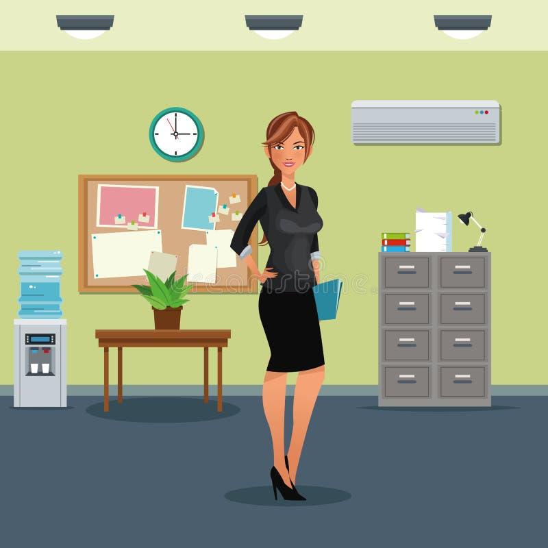 Frauenarbeitsplatztabellentopfpflanzekabinettdatei-Uhrwasserspender stock abbildung