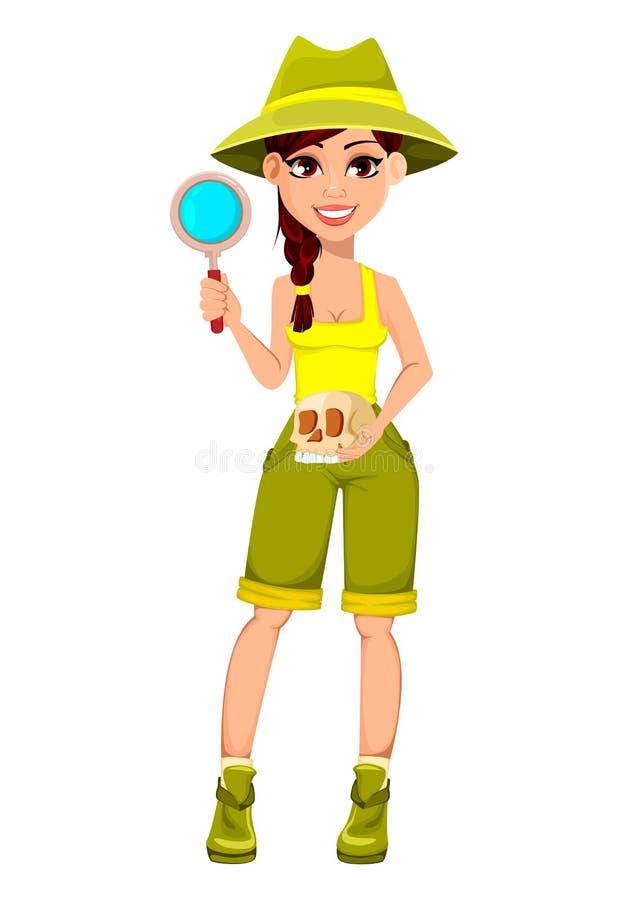 Frauenarchäologe Cute-Zeichentrickfilm-Figur stock abbildung