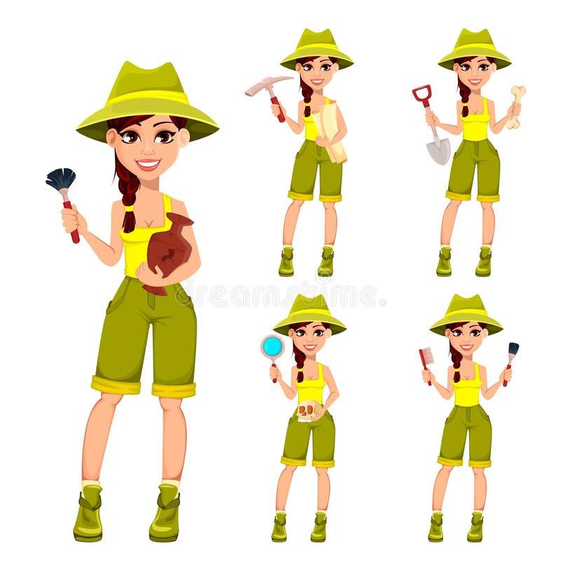 Frauenarchäologe Cute-Zeichentrickfilm-Figur vektor abbildung