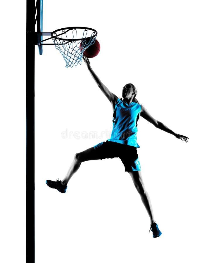 Frauenbasketball-spieler-Schattenbild lizenzfreies stockfoto